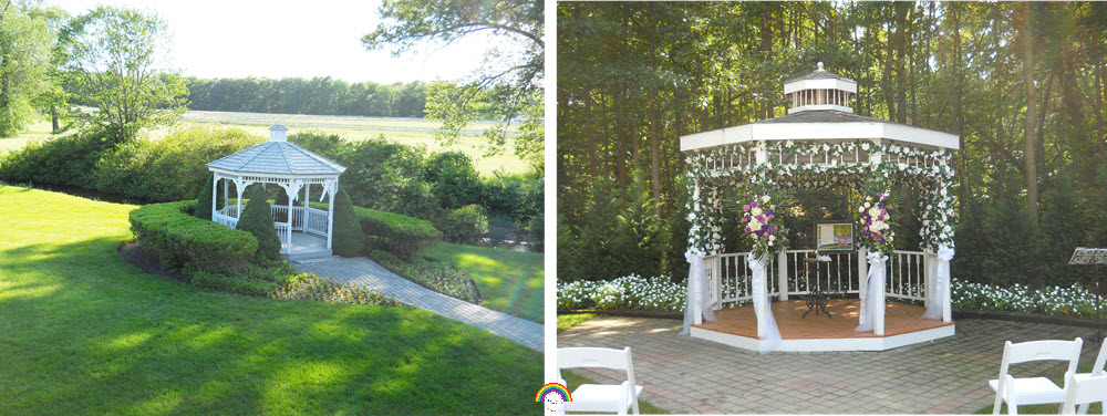 On the left, a gazebo surrounded by grass with stone path leading to the entrance. Short bushes frame the entrance of the gazebo and extend out to the path leaving little room to stand. To the right, a photo of a gazebo with stone around the whole entrance leaving plenty of space to stand. Flowers and greenery create a backdrop without intruding on the ceremony space.