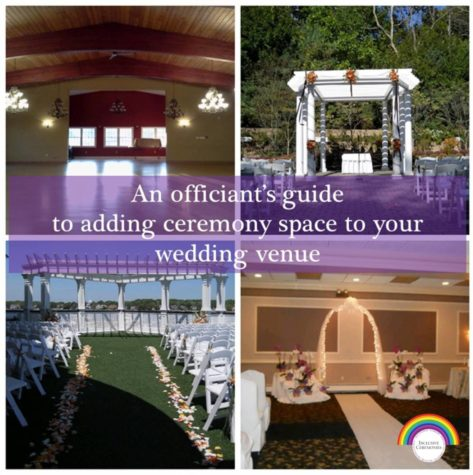 4 wedding ceremony spaces are shown. An empty ballroom, an outdoor space with a white pergola decorated in flowers, another outdoor space with a large white pergola spanning the width of the space and flower petals marking the aisle, and a indoor space with a lighted arch at between 2 flower arrangements and a white runner marking the aisle over a dark carpet.