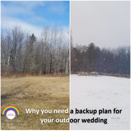 Split screen of a mountain field. On the left is a sunny day, on the right snow. Caption: Why you need a backup plan for your outdoor wedding.