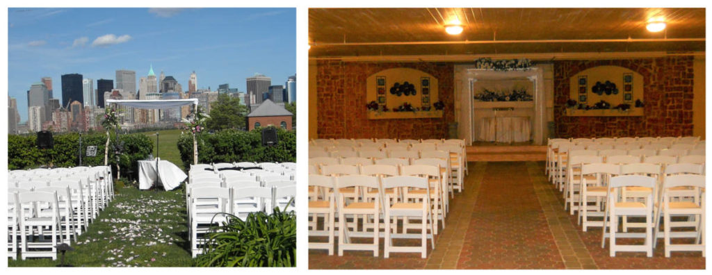 Two weddings canopies. On the left, an outdoor wedding set up with a white chuppah and a table beneath. On the left, an indoor wedding with a chuppah.