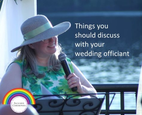 A wedding officiant holds the microphone and smiles. The caption reads Things you should discuss with your wedding officiant.